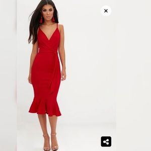 Red Fishtail Midi Dress NWT